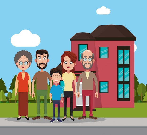 Família perto da casa residencial Vetor Premium