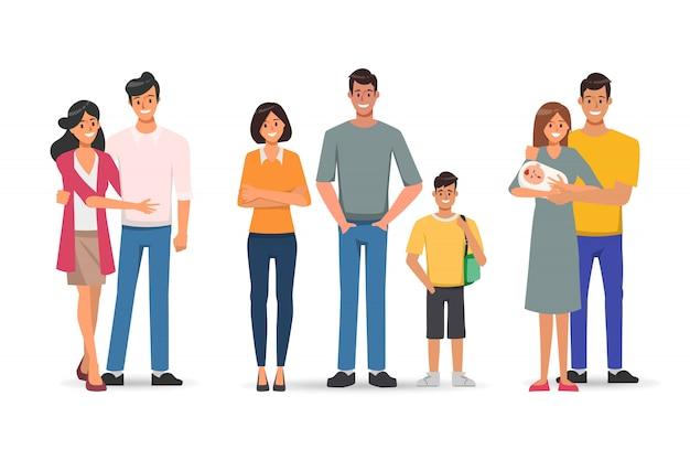Família pessoas com pai mãe e filhos personagem. Vetor Premium