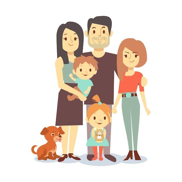 Família plana com animais de estimação isolado no fundo branco Vetor Premium