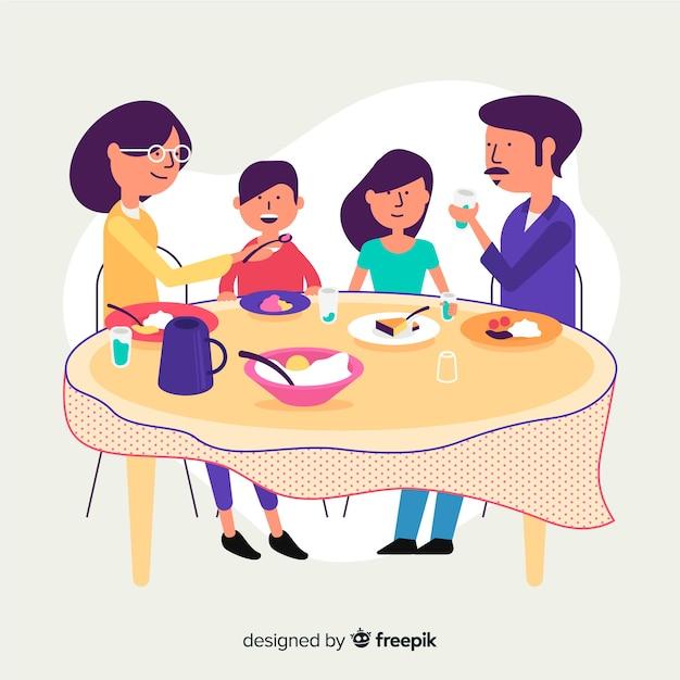 Família plana, sentados ao redor da mesa Vetor grátis
