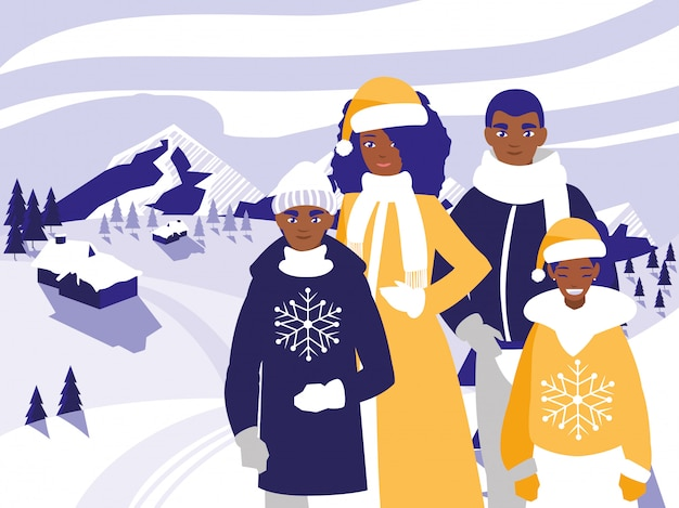 Família preto com roupas de natal na paisagem de inverno Vetor Premium