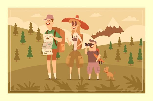 Família que caminha a ilustração dos desenhos animados do vetor da aventura dos povos em uma paisagem com uma montanha. Vetor Premium