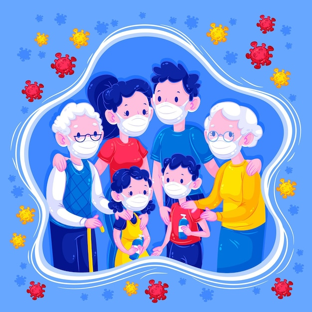 Família que fica junto longe do vírus Vetor grátis