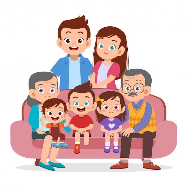 Família reunindo Vetor Premium