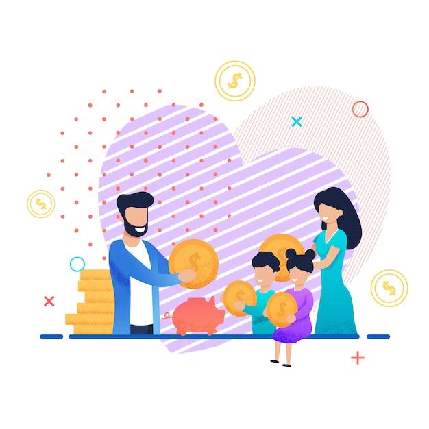 Família salvando dinheiro juntos cartoon ilustração Vetor Premium