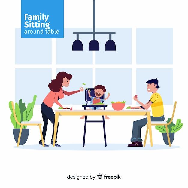 Família, sentando, ao redor, a tabela Vetor grátis