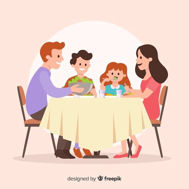 Família, sentando, ao redor, tabela Vetor grátis