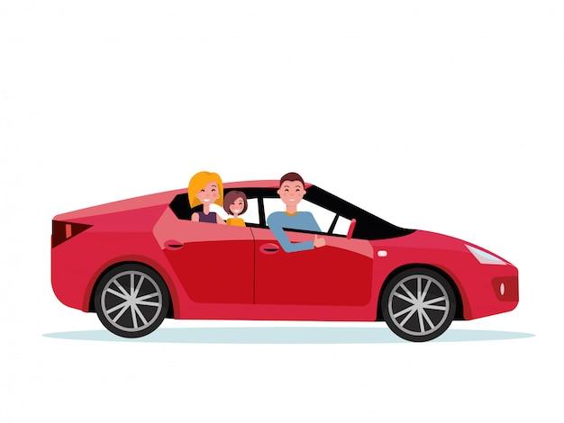 Família sorridente dentro de seu novo carro vermelho. motorista ao volante do carro. mãe e filha estão sentadas no banco de trás. Vetor Premium