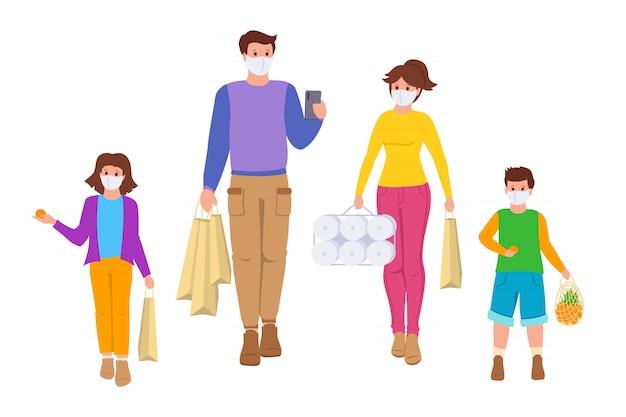 Família vai às compras período de isolamento de coronavírus. sacolas de compras. pessoas do grupo, crianças máscara médica em estilo cartoon Vetor Premium