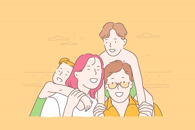 Família, viagens, juntos, conceito de infância Vetor Premium