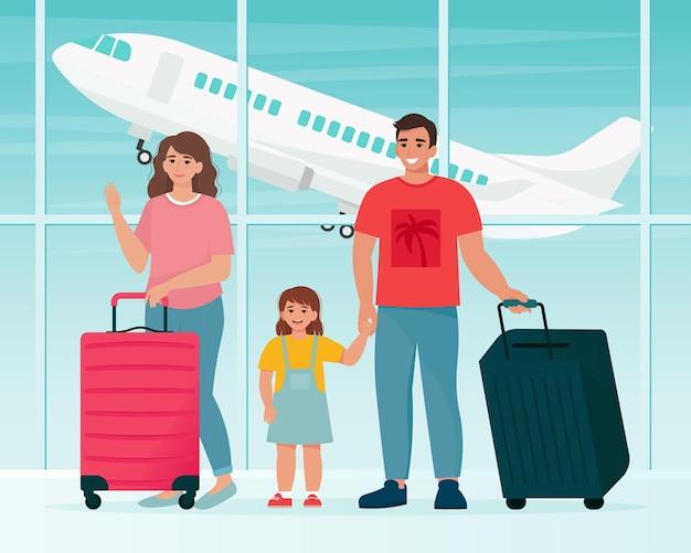 Família viajando no aeroporto com malas. tempo para viajar o conceito. ilustração vetorial em estilo simples Vetor Premium