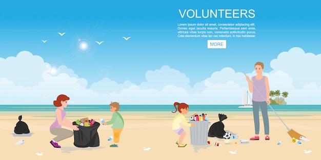 Família voluntária feliz coletando lixo na praia. Vetor Premium