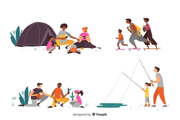 Famílias desenhadas a mão fazendo atividades externas Vetor grátis