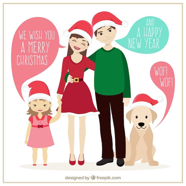 Familly ilustração do natal Vetor grátis