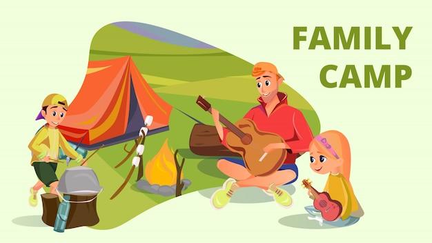 Family camp cartoon pai filho filha acampar Vetor Premium