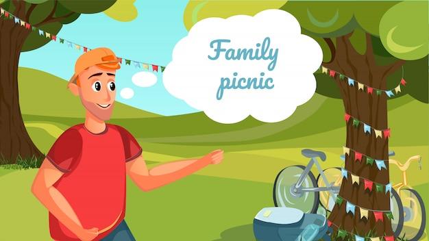 Family picnic banner árvore de campo de homem dos desenhos animados Vetor Premium