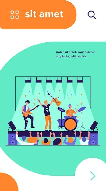 Famosa banda de rock tocando e cantando no palco ilustração vetorial plana Vetor grátis