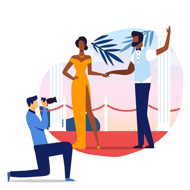 Famoso casal foto sessão ilustração Vetor Premium