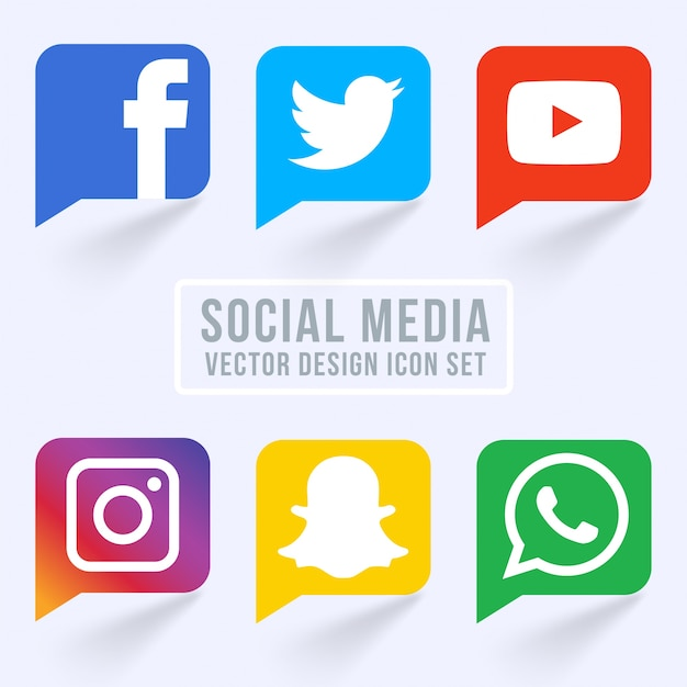 Famous Social Media Ícones Vetor grátis