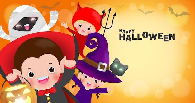 Fantasia de feliz halloween para crianças Vetor Premium
