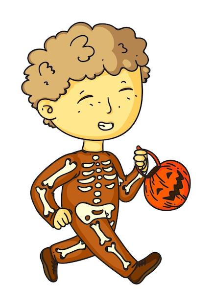 Fantasia de menino esqueleto engraçado de halloween em branco Vetor Premium
