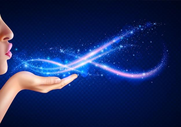 Fantasia mágica com mulher soprando luzes brilhantes da mão realista Vetor grátis