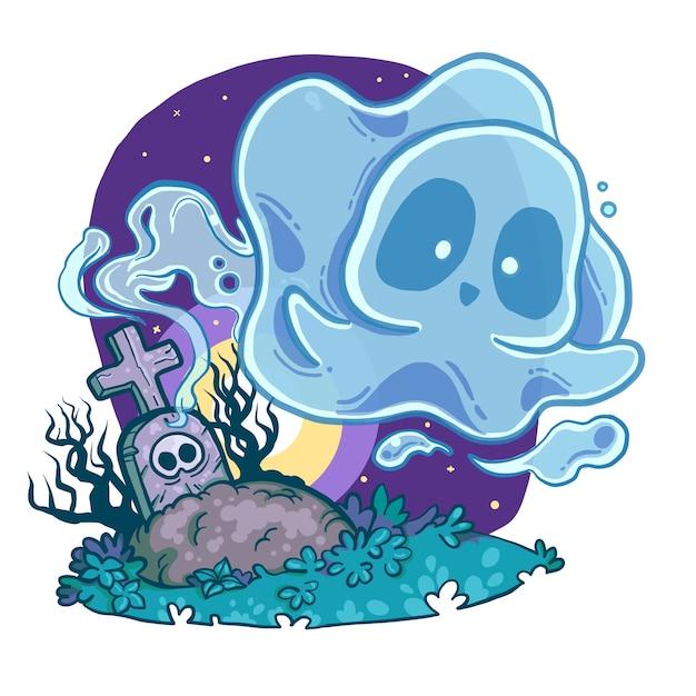 Fantasma no cemitério Vetor Premium