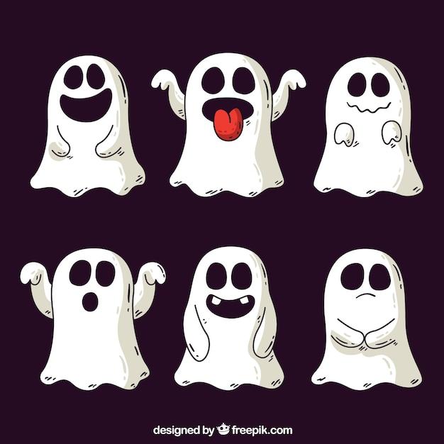 Fantasmas de halloween desenhados a mão Vetor grátis