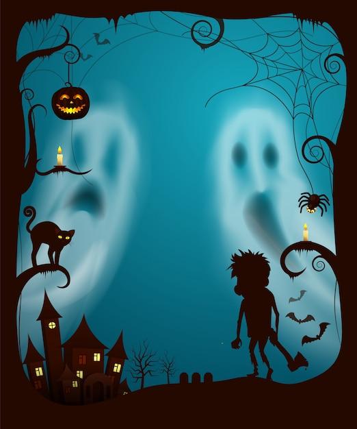 Fantasmas de halloween e noite assustador cemitério vector Vetor Premium