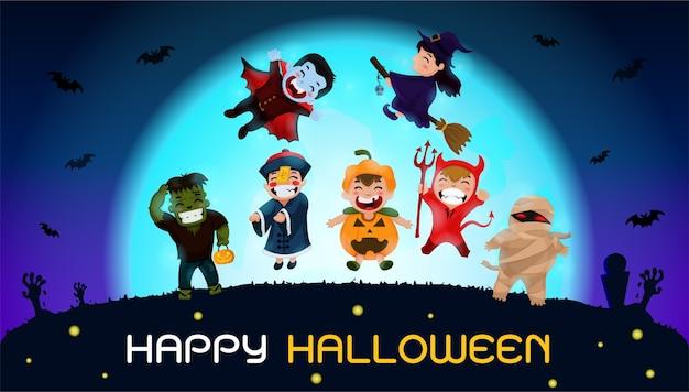 Fantasmas se juntam ao festival de halloween e tiram fotos como lembranças Vetor Premium