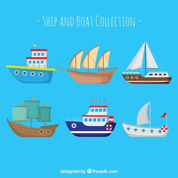 Fantástica coleção de barcos Vetor grátis