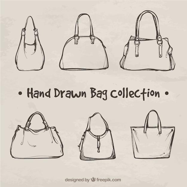 Fantástica colecção de malas desenhados à mão Vetor grátis
