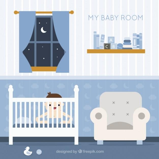 Fantástico quarto do bebê com o bebê de sorriso Vetor grátis