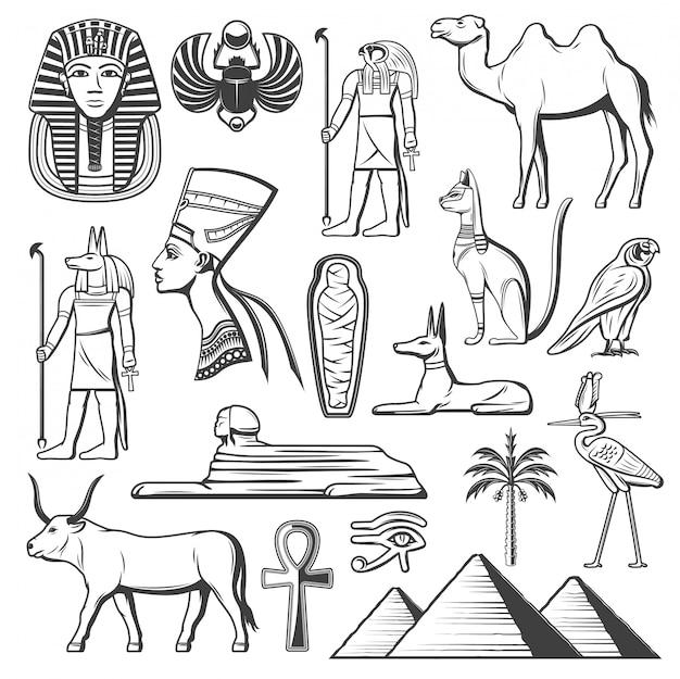 Faraó egípcio antigo, múmia, pirâmides, esfinge Vetor Premium