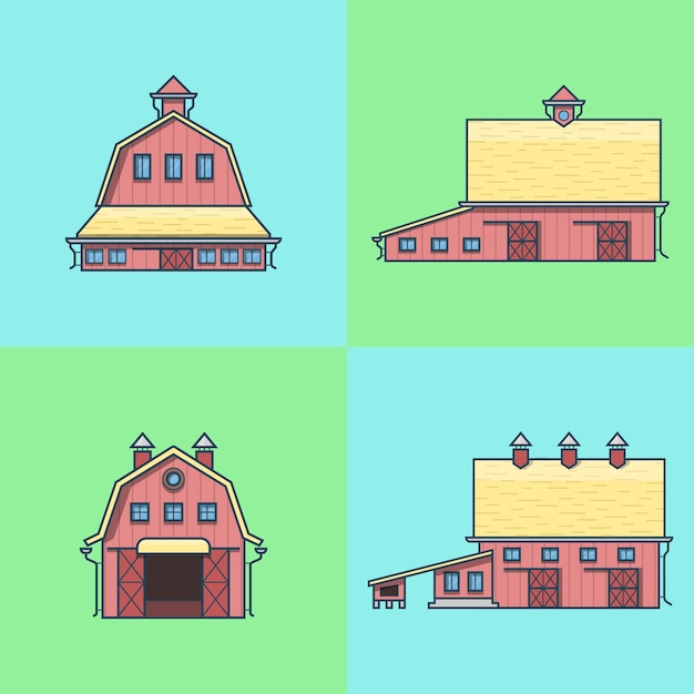 Farm rancho celeiro armazém casa armazém celeiro hangar conjunto de edifícios de arquitetura. Vetor grátis
