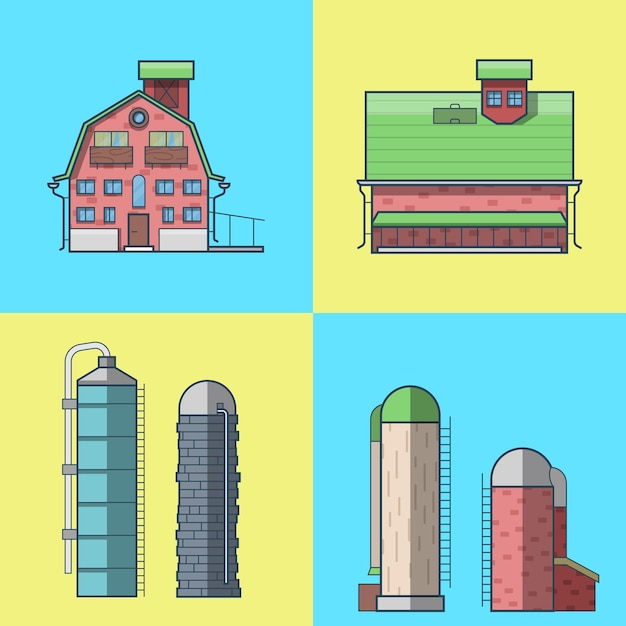 Farm rancho celeiro armazém casa armazém celeiro hangar torre de água conjunto de edifícios de arquitetura. Vetor grátis