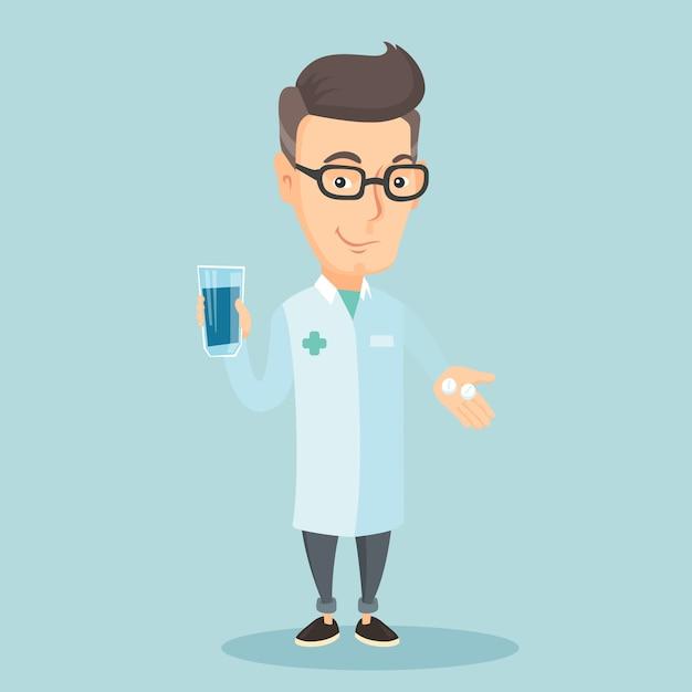 Farmacêutico dando pílulas e copo de água. Vetor Premium