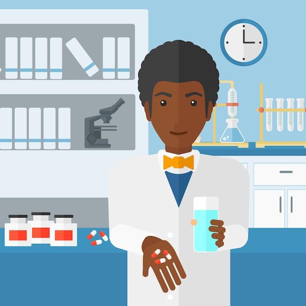 Farmacêutico dando pílulas. Vetor Premium