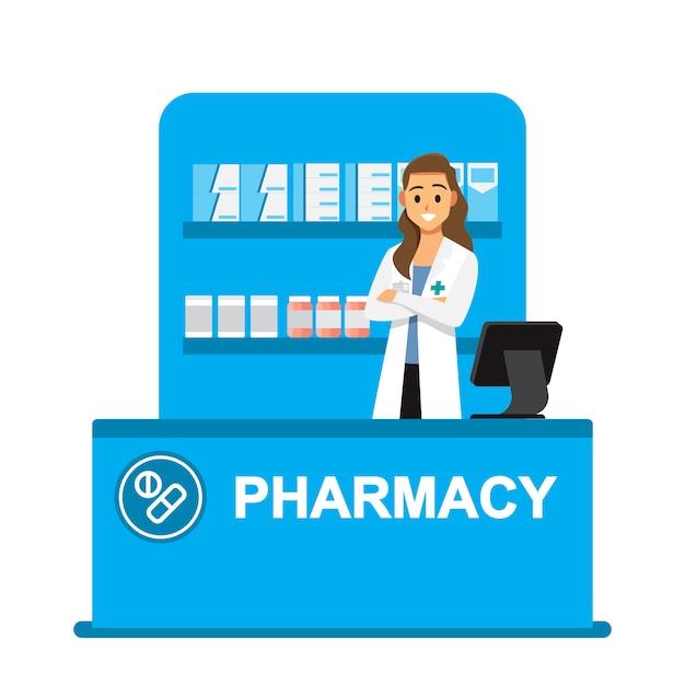 Farmacêutico, farmácia, farmacêuticos estão prontos para dar conselhos sobre o uso de drogas Vetor Premium