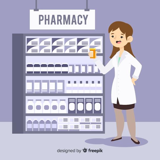 Farmacêutico plano, atendendo clientes fundo Vetor grátis