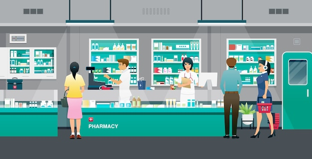 Farmacêuticos e farmacêuticos que vendem medicamentos ao público. Vetor Premium