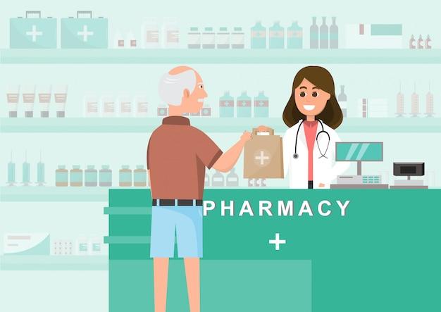 Farmácia com enfermeira no balcão. personagem de desenho animado de farmácia Vetor Premium