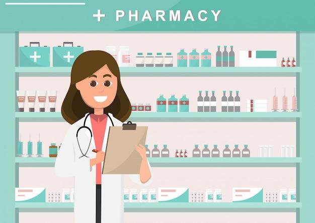 Farmácia com enfermeira no balcão Vetor Premium