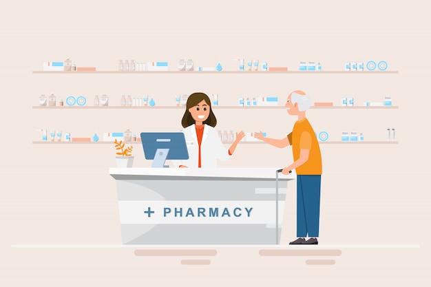 Farmácia com farmacêutico e cliente no balcão Vetor Premium