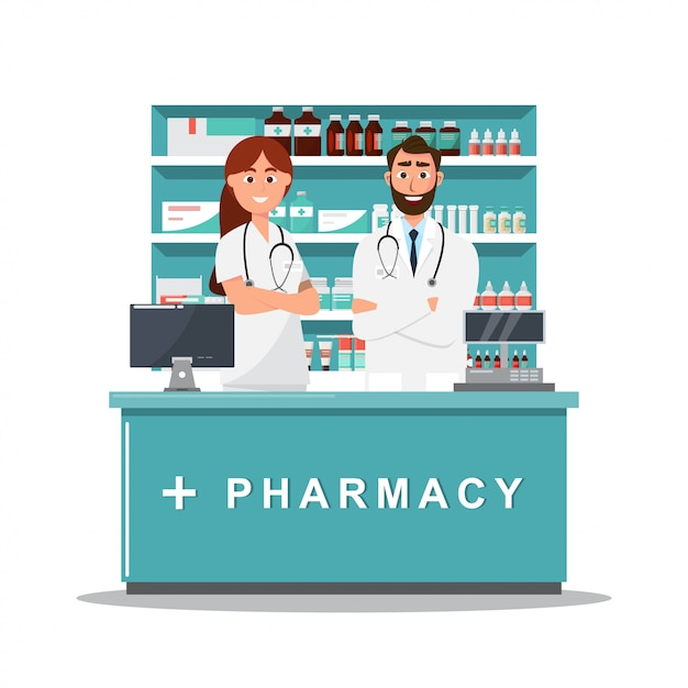 Farmácia com médico e enfermeira no balcão Vetor Premium