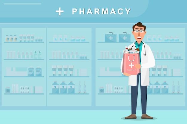 Farmácia com médico segurando um saco de medicamentos Vetor Premium