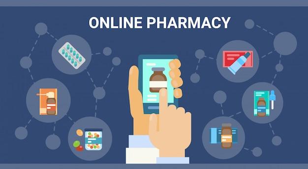 Farmácia consulta médica on-line médico clínicas de assistência médica serviço hospitalar banner de rede de medicamentos Vetor Premium