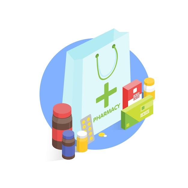 Farmácia moderna e drogaria. ilustração simples isométrica Vetor Premium