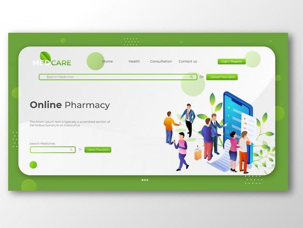 Farmácia on-line loja, medicina e conceito de saúde para onlin Vetor Premium