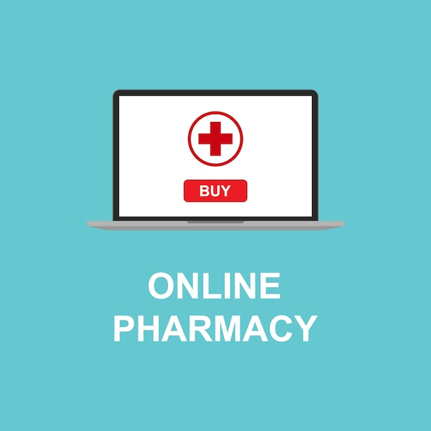 Farmácia on-line no seu dispositivo Vetor Premium